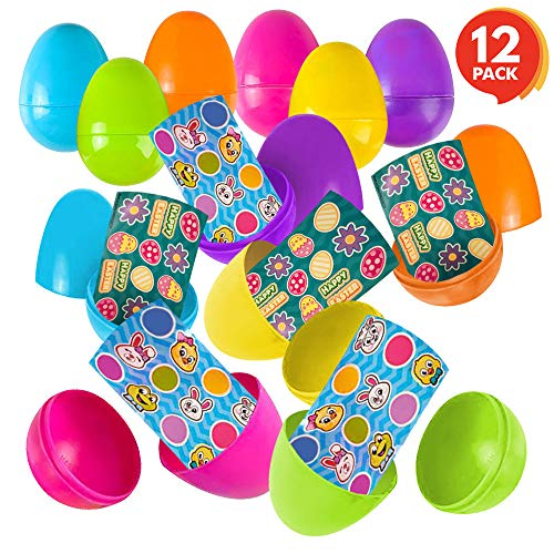 ArtCreativity 3 Inch Plastic Prefilled Easter Eggs with Stickers Inside - Set of 12 - Assorted Vibrant Colors - Fun Surprise Toys for Kids - Egg Hunt Supplies, Party Favors Toys for Boys and Girls