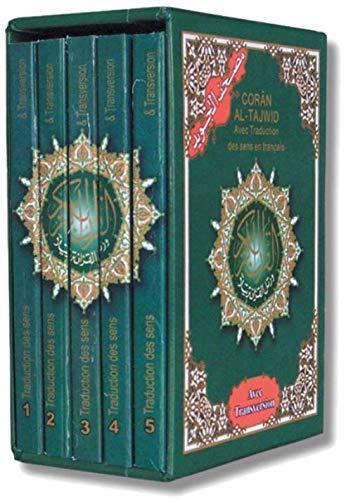 Coran Al-Tajwid: Avec traduction des sens en français. Coffret en 5 volumes