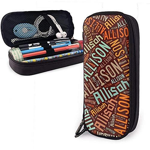 Allison - Estuche de lápices de cuero de gran capacidad de apellido americano, lápiz, lápiz, papelería, organizador, marcador escolar, bolsa de cosméticos portátil
