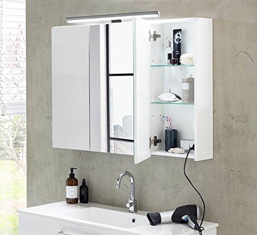Schildmeyer Elipsa Spiegelschrank, Holzdekor, Weiß, 80 x 16 x 75 cm