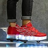 CCCYT Enfants LED Chaussures avec roulettes LED Clignotante Lumineux Baskets avec Roues Lnline Patins À roulettes Outdoor Sports Gymnastique Skateboard Chaussures pour Fille Et Garçon,30