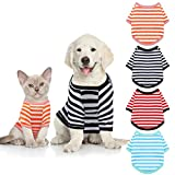 4 Pieces Dog Shirts Striped Dog T-Shirts Pet Stretchy Clothes Puppy Short Sleeves Shirts Cat Tank for Small Medium Dogs, 4 Colors (Black, Red, Orange, Blue, L)
