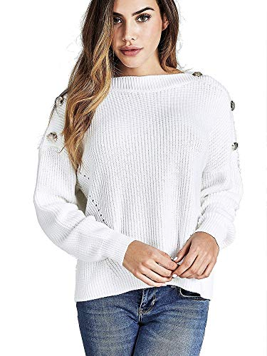 Guess LS RN Giada Swtr Jersey, Blanco (True White A000 Twht), Small para Mujer (Ropa)