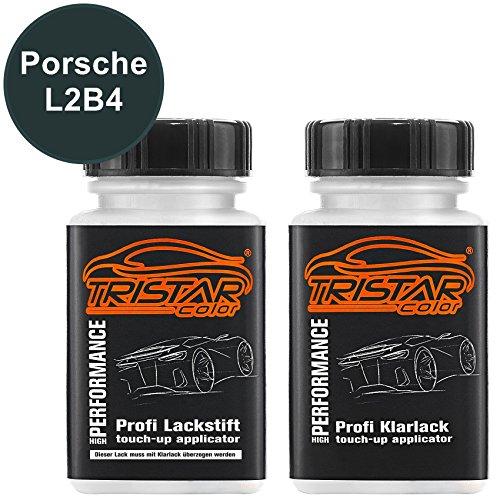 TRISTARcolor Autolack Lackstift Set für Porsche L2B4 Tannengrün Metallic/Forrest Green Metallic Basislack Klarlack je 50ml