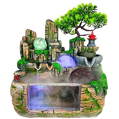 ASDFG Rockery Water Resin Ornaments,Living Room Fountain Water Ornaments Home Decoration Indoor Outdoor Portable Tabletop Decorative Green 11.8inch