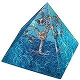 Amogeeli - Árbol de la vida de cristal pirámide EMF, protección para meditación, chakra reiki, decoración de casa, azul claro