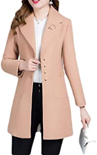 Macondoo Womens Single Breasted Lapel Wool Blended Outwear Winter Trench Pea Coat