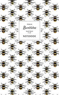 Bumblebee Notebook - Ruled Pages - 5x8 - Premium: (White Edition) Fun notebook 96 ruled/lined pages (5x8 inches / 12.7x20....
