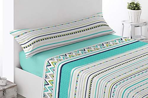 Energy Colors Textil - hogar - Seattle - Juego Sábanas Estampada Verano Microfibra 3 Piezas (Verde Hig, 135_x_200_cm)