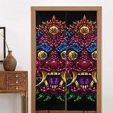 86 x 143 cm (34 x 56 Zoll) Vorhänge für die Haustür Indonesische Bali-Maske Mythologische balinesische Küchenvorhänge für die Tür Schlafzimmer-Fenstervorhänge Langer Typ für die Dekoration von Küchen