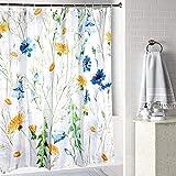 JOTOM Cortina de baño de Tela de poliéster Resistente al Agua con Ganchos, Cortina de baño para decoración de baño,180 x 180 cm (Flor Azul)