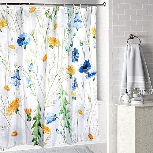 JOTOM Wasserdichtes Polyester-Badvorhang mit Haken, Duschvorhang für Badezimmerdekor,180cmx180cm (Blaue Blume)