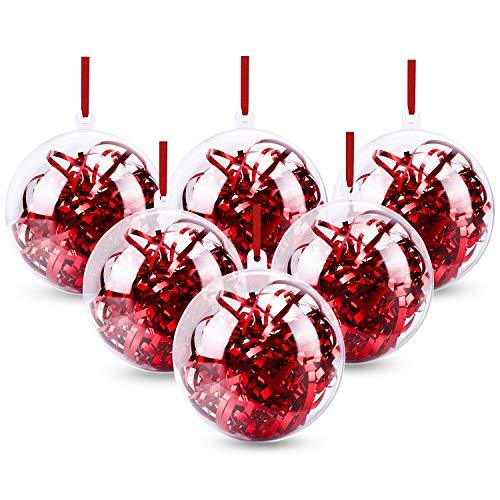 Gifort Acrylkugeln Kunststoffkugeln Bastelkugeln 20 Stück 8 cm Klar Kunststoff Ball Befüllen Weihnachtskugeln Weihnachtsbaumschmuck Christbaumschmuck mit Aufhängeöse