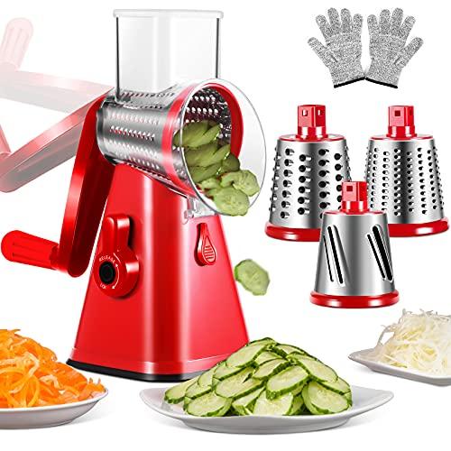 MASTERTOP Manuelle Trommelreibe & Spiralschneider, 3 in 1 Mandoline Gemüseschneider,Rotary Drum Reibe mit 3 runden Edelstahlklingen für Käse,Gemüse und Obstschneider mit Anti-Schneid-Handschuhe