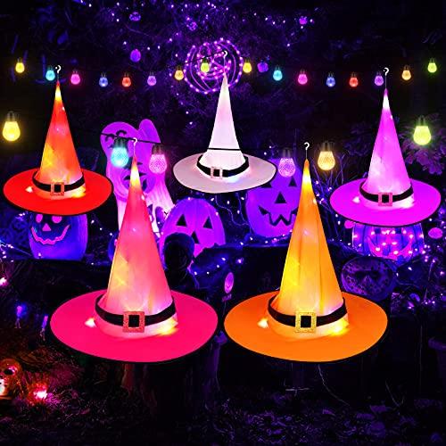 Halloween Iluminados Sombrero de Bruja Decoraciones Colgando para Intemperie Halloween Jardín Planta Yarda Exterior Patio Decoraciones Adornos, Luces Sombrero de Bruja para Halloween Disfraz