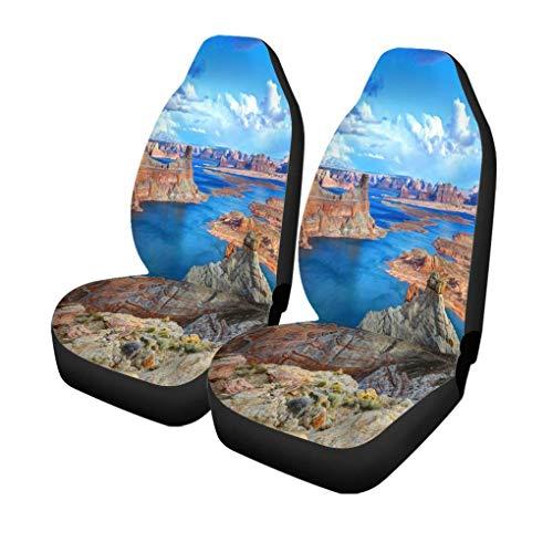 XZfly autostoelhoezen kleurrijk Alstroom Point Lake Powell zijde Arizona Verenigde Staten set van 2 beschermers auto fit voor auto