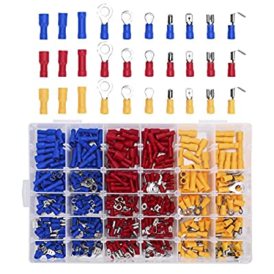 480pcs Insulated Electrical Wire Connectors, TAKSDAI Wire Terminals Crimp Connectors Crimp Terminals Spade Ring Butt Terminal Assortment Kit Set Bonus Case