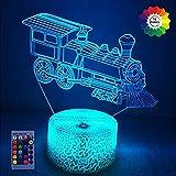 Tren 3D Lámpara luz nocturna 7/16 Cambio color Lámpara LED Mesa control remoto con alimentación USB Regalo para niños Juguetes Decoración Decoraciones Navidad Regalo San Valentín Regalo cumpleaños