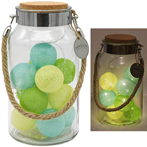 Dekovita Linterna de vidrio 30cm con Tronje 10 LED Bolas de Algodón Luces Cadena de Luz 4h Temporizador Amarillo-Verde