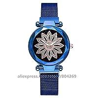 ファッション女性腕時計ゴールドケースローズフラワーラインストーンの合金クォーツ時計 Ztoyby (Color : Blue)