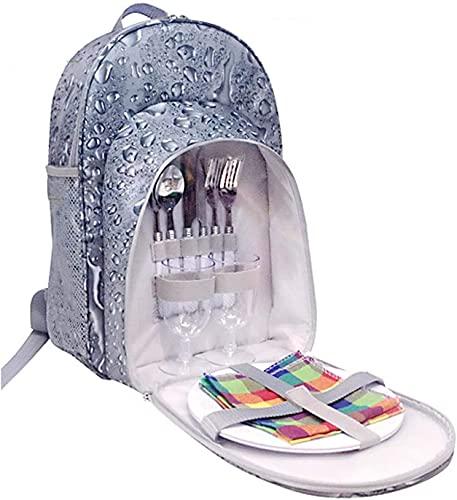 QXHELI Picknick-Rucksack, 2 Person Deluxe-Picknick-Set mit Besteck, tragbares Picknick-Rucksack-Tasche Isolierte Kühler-Tasche für den Wanderungspicknick im Freien