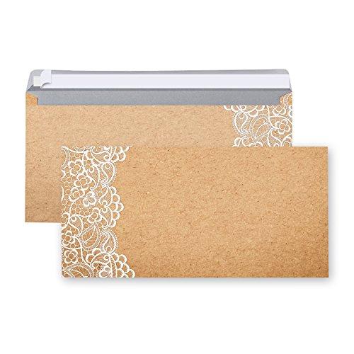 25 Stück Briefumschläge Umschläge SPITZE VINTAGE altes Papier marmoriert braun beige Nostalgie DIN Lang 22 x 11 cm Briefkuvert mit Haftklebestreifen rustikal antik festlich edel