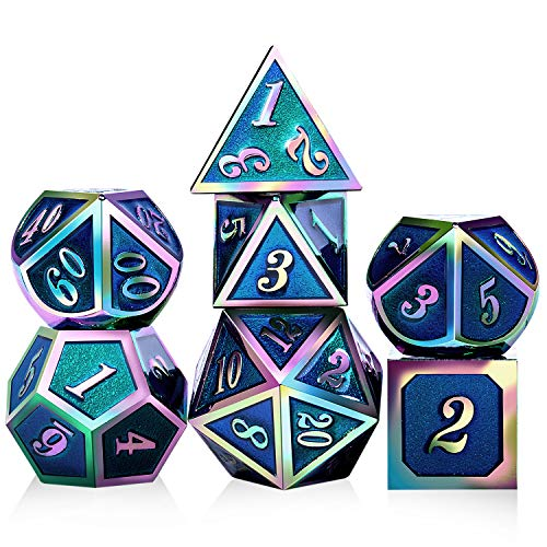 DNDND D&D Dice 7pcs Metal Polyhedarl Rainbow DND Dice Set with Metal Box for RPGs Dungeons and Dragons Board Game (Blue and Colorful Number)