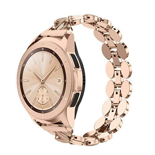 Ownaco Kompatibel mit Samsung Galaxy Watch 42mm Armband, Frauen 20mm Rose Gold Metallarmband Ersatzband Zubehr für Active 2 40mm 44mm/Active 40mm (Rose Gold)