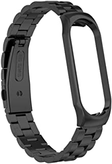 Hemobllo Stainless Steel Watch Band Strap Watch Replacement Solid Metal Bracelet Wristband Compatible for Xiaomi Bracelet 3 Brcelet 4 (Black)