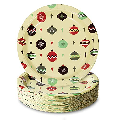 Party Paper Plates, 50-Pack Disposable Paper Plates Christmas Party Supplies, Christmas Ornament Design, 9-Inch Dinner Plates