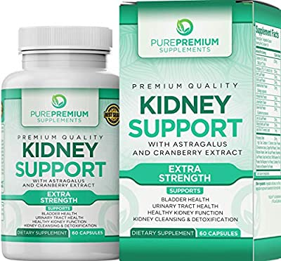 Premium Kidney Support Supplement by PurePremium (Kidney Cleanse Supplement) Potent Herbal Ingredients for Urinary Tract and Bladder Health – Cranberry Extract, Astragalus and Uva Ursi Leaf - 60 Caps by PurePremium Supplements