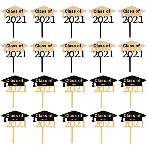 PRETYZOOM 20 Piezas 2021 Toppers de Pastel de Graduación Toppers de Pastel de Acrílico Clase de 2021 Selecciones de Pastel Suministros para Fiestas