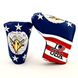 19th Hole Custom Shop I Love USA Golf Headcover for Midsize Mallet and Blade Putter, Golf Head Cover