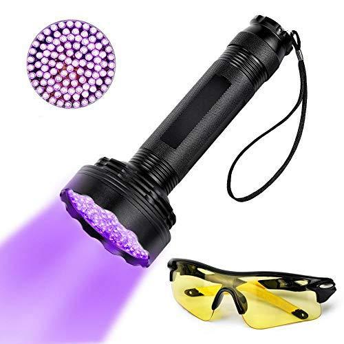 Linterna de 100 LED actualizada Lámpara ultravioleta de luz negra Linterna UV Detector de orina para manchas de mascotas Antorcha brillante con gafas de sol UV Detección de mano para el hogar Hotel Ca
