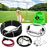 Dog Tie Out Trolley System Dog Run Cable 92ft Aerial Run Cable with 15ft Divided into Two Sections Dog Runner Cable for Yard Pulley Runner Line for Medium Small Dogs Up to 75 lbs(Black)