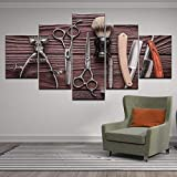 BXZGDJY 5 Panel Friseur Werkzeuge Schere Rasiermesser Beauty Styling Tool Hd-Druck Leinwand Malerei...