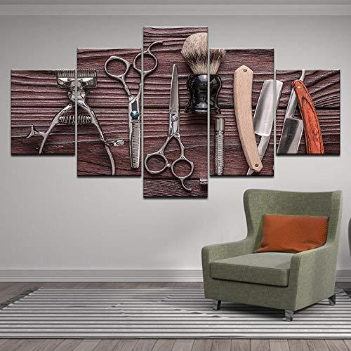 BXZGDJY 5 Panel Friseur Werkzeuge Schere Rasiermesser Beauty Styling Tool Hd-Druck Leinwand Malerei Auf Wandkunst Bild Barbershop Home Decor 200X100CM Bild Bilder auf Leinwand 5 teilig Poster für Ho