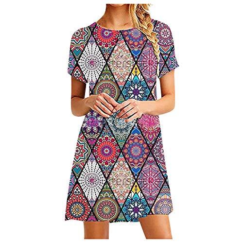 Vestido de Camiseta Verano Casual para Mujer Vestido Rómbico Floral Suelto Informal