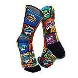 Monolon Calcetines técnicos divertidos y originales para ciclismo, running o cualquier deporte, modelo Comic (M)