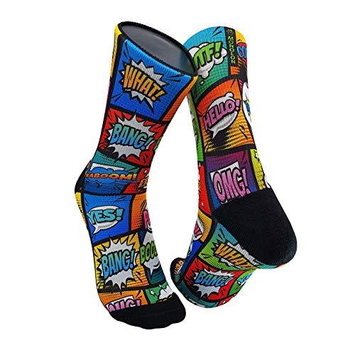 Monolon Calcetines técnicos divertidos y originales para ciclismo, running o cualquier deporte, modelo Comic (S)