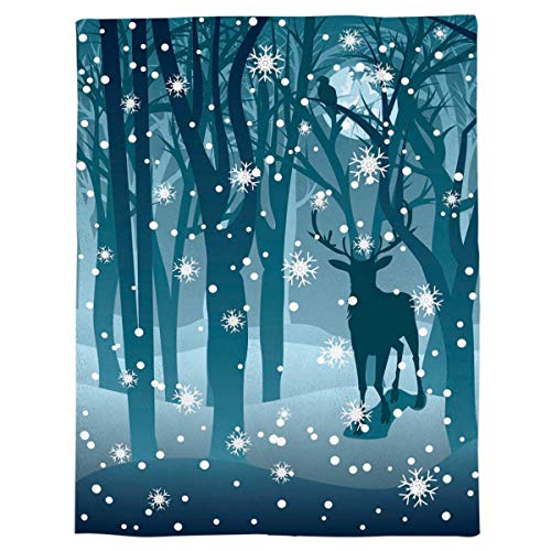 Flannel Throw Blanket Winter Forest Reindeer Blue Lightweight Fleece Bed Blanket Soft Warm Blanket All Season Sofa/Couch/Chair for Child Adults