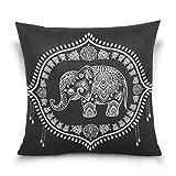 Use7 Funda de Almohada Decorativa, Cuadrada, Elefante Indio, Flor de Loto, Mandala, Negro, Funda de Almohada para sofá o Cama, Dos Lados, Tela, 40 x 40cm/16 x 16 Inches