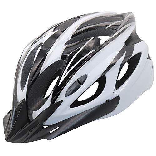 Erwachsener Schwarz-Weiß Fahrradhelm Unisex Fahrradhelm Outdoor Sport Radfahren Mountain & Road Fahrradhelme Kletterhelm für Männer Frauen, 56~62cm