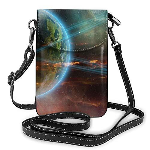 Risating Pouch Umhängetasche Geldbörse - Conjunction Jupiter Saturn Handy Handtaschen mit verstellbarem Gurt PU Leder für Frauen Mädchen