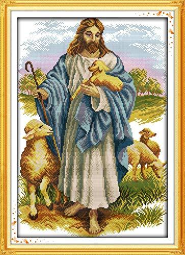 Kit de punto de cruz con tela estampada-Jesús y la oveja-Kits de bordado para principiantes, niños y adultos con patrón impreso de 11 quilates -40x50cm