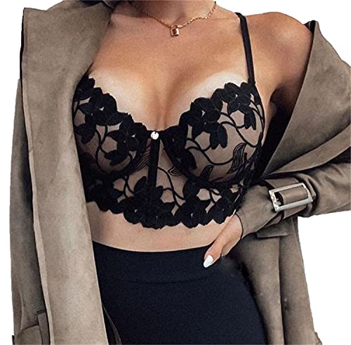 Women's Sheer Lace Bralette Sexy Spaghetti Strap Unlined V-Neck Bra Full Coverage Non-Padded Underwire Bralettes (Black,X-Large)