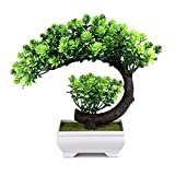 Small Artificial Plants Fake Bonsai Tree, Indoor Plant for Home Office Decor, 9.5 x 8.5 inch