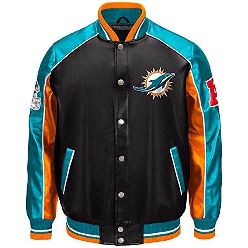 Dolphins Faux Leather Jacket NFL Pleather (XXL) Aqua