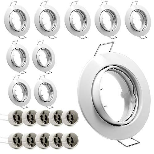 Juego de 10 focos empotrables GU10, color blanco, orientables, marco redondo, incluye portalámparas GU10 para bombillas LED o halógenas