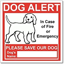 SecurePro Products 6 Dog Alert Safety Warning Window Door Stickers; in Case of Fire Notify Rescue Personnel to Save Dog